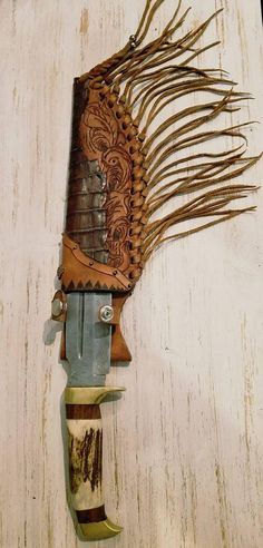 Combo Custom Hand made sheath and Damascus knife