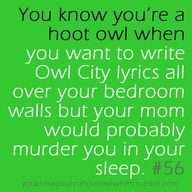 I write/paint Owl City lyrics on paper then tape then all over my walls. <3