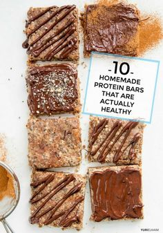 Healthy Homemade Protein Bars - Base There's a dizzying array of protein bars available at health food store shelves, grocery stores, and even the gym café. Some are tasty, some are gross Healthy Protein Snacks, Protein Bar Recipes, Healthy Treats, Gourmet Recipes, Homemade Protein Bars, Protein Foods, High Protein, Sugar Free Protein Bars, Homemade Quest Bars
