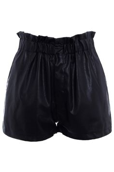 Elasticated Waist Black PU Shorts $42.99