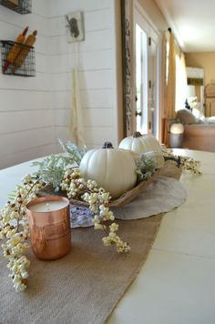 Neutral Fall Centerpiece with white pumpkins