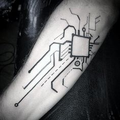 Simple Awesome Circuit Board Mens Inner Forearm Tattoo