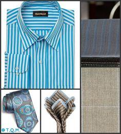 SHIRT/TIE COMBO: Paul Stuart(Shirt)-Ermenegildo Zenga(Tie)-Sebastian Cruz(Pocket Square)-Suggested Suit Colors(Gray Teal Stripe & Tan Windowpane) Suit Colors On Right Side.