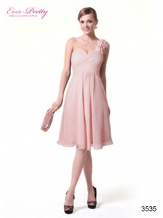 Ever Pretty I One Shoulder Flowers Pink Padded Ruffles Cocktail Dress $79.99  #pink #flower #cocktaildress