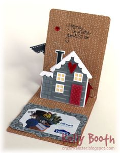 Kelly Booth using the House Pop 'n Cuts Insert with companion House Thinlits: Lovin The Life I Color: Time to Show a Few More CHA Samples! Gift Cards Money, 3d Cards, Pop Up Cards, Flip Cards, Tarjetas Pop Up, Paper Pop, Elizabeth Craft Designs, Interactive Cards, Fancy Fold Cards
