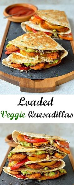 Healthy Salad Recipes Loaded veggie quesad Food & Recipes Loaded veggie quesadillas - delicious filling healthy quesadillas stuffed with spiced roasted sweet potato peppers black beans avocado cream cheese and cheddar. Healthy Snacks, Healthy Eating, Healthy Wraps, Healthy Filling Meals, Vegan Wraps, Clean Eating Vegetarian, Healthy Man, Protein Snacks, Healthy Dishes
