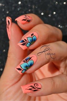 Coral pink nails with blue flowers Nail Design, Nail Art, Nail Salon, Irvine, Newport Beach Flower Nail Designs, Flower Nail Art, Nail Art Designs, Coral Nail Designs, Coral Nails With Design, Nails With Flower Design, Fingernail Designs, Coral Pink Nails, Blue Nails