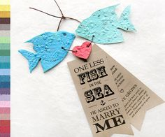 100 Seed Fish - Two less fish in the Sea - Plantable Save the Date announcements. By Recycled Ideas.