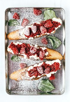 Rustic French Toast with Roasted Raspberries & Almond Ricotta
