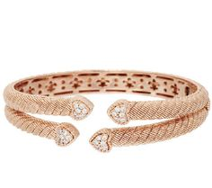 Judith Ripka Sterling & 14k Rose Clad Pave Cuff