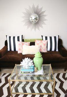 Serendipity Interiors - living rooms - West Elm Zizag Rug, Z Gallerie Sofa, Majestic Sunburst Mirror, Zgallerie Sofa, Vintage Coffee Table, ...
