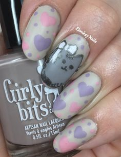 ehmkay nails: Pusheen Calendar Series: February 2017 Pusheen with Bows and Hearts