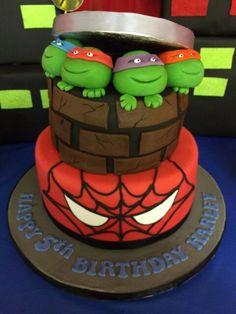 Ninja turtle and spiderman birthday cake