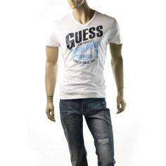 GUESS T Shirt Mens Cracked Logo White Short Sleeve V Neck Size L Tee Shirts NEW | Get Dressed at http://ImageStudio714.com http://stores.ebay.com/ImageStudio714