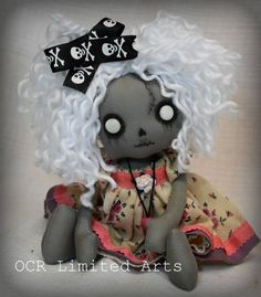 Ariana ZOMBIE Rag Goth Tattered spooky creepy cute emo collectible home decor Stitches gift Handmade Art Doll OOAK by OCRLimitedArts on Etsy