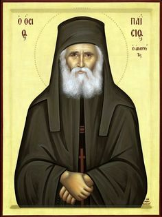 Orthodox icon of Saint Paisios, the Elder of Mount Athos. Byzantine Icons, Byzantine Art, Religious Icons, Religious Art, Christian Mysticism, Sunday Movies, The Holy Mountain, Roman Church, New Saints