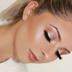 glowing skin, blush pink eyeshadow