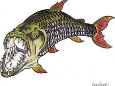 Tigerfish Tiger Fish, Fish Logo, Bass Fishing Tips, Animal Kingdom, Painting & Drawing, Cool Tattoos, Fish Paintings, Silhouette, Watercolor
