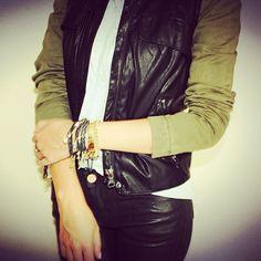 #howtowear modern military - leather and khaki green #armcandy #annalouoflondon