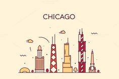 Buy Chicago City Skyline Trendy Vector Line Art by gropgrop on GraphicRiver. Chicago City skyline detailed silhouette Trendy vector illustration line art style Chicago Map, Chicago Skyline, Line Art Vector, Free Vector Art, Simple Illustration, Digital Illustration, Amsterdam, Instagram Highlight Icons, Architecture Art