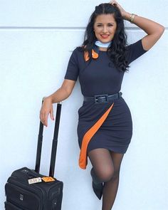 Yep, we at dre aviation reckon that happy crew give great customer service, keep smiling :) Airline Attendant, Flight Attendant, Air Hostess Uniform, Female Pilot, Plus Size Cocktail Dresses, Girls Uniforms, Cabin Crew, Sexy Legs, High Waisted Skirt