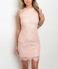 Look at this #zulilyfind! Pink & Tan Lace Bodycon Dress #zulilyfinds