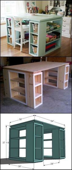 Ideas For Craft Room Table Diy Sewing Spaces Craft Room Tables, Craft Desk, Diy Desk, Diy Organizer, Sewing Room Organization, Organization Ideas, Organizing Tips, Kitchen Organization, Ikea Storage