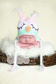love the pink and aqua-Newborn Girl - Owlet