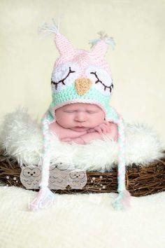love the pink and aqua-Newborn Girl - Owlet