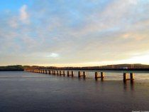 Sunset at the Tay Road Bridge, River Tay, Dundee, Scotland