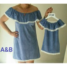 Resultado de imagen para ropa para madre e hija igual Mother Daughter Matching Outfits, Mom Daughter, Matching Family Outfits, Twin Outfits, Mommy And Me Outfits, Kids Outfits, Father And Son Clothing, Mommys Girl, Sewing Doll Clothes