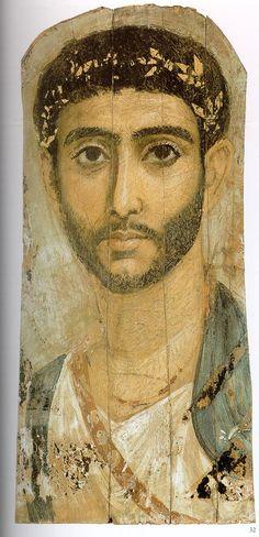 Mummy portrait of a young man with sword belt, er Rubayat, ca AD 120 (Berlin, Neues Museum)