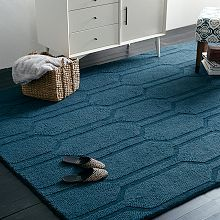 WE Honeycomb Textured Wool Rug - Regal Blue (also comes in other blues, yellow, and gray)
