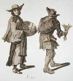 'Buy a new Almanac! Fine writing ink!', illustration of street sellers around 1675 Postcards, Greetings Cards, Art Prints, Canvas, Framed Pictures & Wall Art by English School