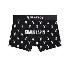 """Hommes sweet hommes...Boxer noir printé en microfibre Playboy avec message """"CHAUD LAPIN"""". Ceinture élastiquée noire."""