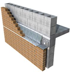 Shelf angle and flashing detail in masonry wall. Brick Cladding, House Cladding, Brick Facade, Brickwork, Detail Architecture, Brick Architecture, Square House Plans, Break Wall, Masonry Wall