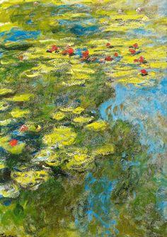 Claude Monet - Water Lilies Nymphets, 1919 at Musée Marmottan Monet Paris France Famous Impressionist Paintings, Monet Paintings, Impressionist Art, Landscape Paintings, Claude Monet, Artist Monet, Pond Painting, Monet Water Lilies, Art Japonais