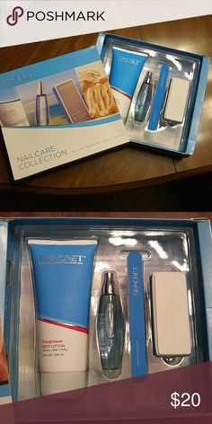 Seacret Minerals From the Dead Sea nailcare This is a complete set of the Seacret-Minerals from the Dead Sea collection. It comes with pomegranate body lorion, buffing block, cuticle oil, and nail file. I only used this maybe twice. Seacret Makeup