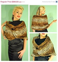 ON SALE Rockabilly Leopard Print 1950s Faux Fur Shawl Cape Wrap with Button - Made to Order on Etsy, $70.40