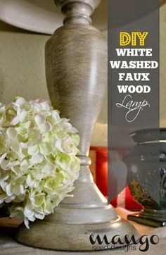DIY White Washed Faux Wood Lamp Base Makeover - We took an old, outdated metal lamp and gave that baby a quick, EZ makeover!   We started with a black metal bas…