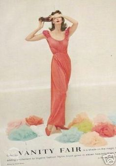 50's Style: Picture Description 28-12-11 1957 Vanity Fair Coral Nightgown Ad - #50s https://looks.tn/style/50s/50s-style-28-12-111957-vanity-fair-coral-nightgown-ad/