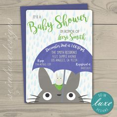 Totoro Baby Shower Invites 5 x 7 Totoro Babies and Boy baby showers