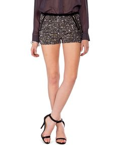 Silver Sequin Zipper Shorts - 2020AVE