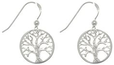 Jewelry Trends Sterling Silver Round-cut Out Tree Of Life Dangle Earrings * Check out this great product.