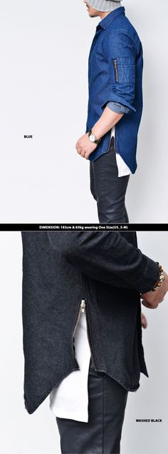 Tops :: Extended Side Zip Denim Shirt-Shirt 145 - Mens Fashion Clothing For An Attractive Guy Look
