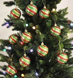 Festive Season Christmas Tree Ornaments - 10pk 60mm Shatterproof Green/Gold/Red * You can get additional details at the image link.