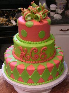 3 tiered birthday cake, polka dots and diamonds