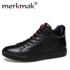 Merkmak Genuine Leather Men Waterproof Shoes Men Casual Sneakers Fashion Ankle Boots For Men High Top Winter Men Shoes Size 47 - Touchy Style Casual Boots, Casual Sneakers, Sneakers Fashion, Men Sneakers, Men Casual, Fashion Boots, Sneakers Sale, Fashion Men, Autumn Fashion