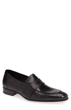 Mezlan 'Emil' Lizard Skin Penny Loafer (Men) in black.