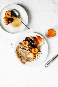 Buckwheat Crepes with Bourbon Vanilla Plums
